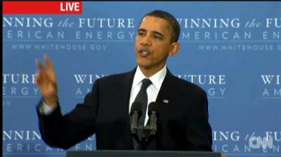 "Post image for Obama Decries Gimmicks and Slogans with ""Win the Future"" in Background"