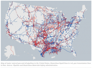 Oil and gas pipelines map U.S.