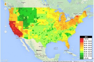 Gas Prices Map February 12, 2015 Gasbuddy